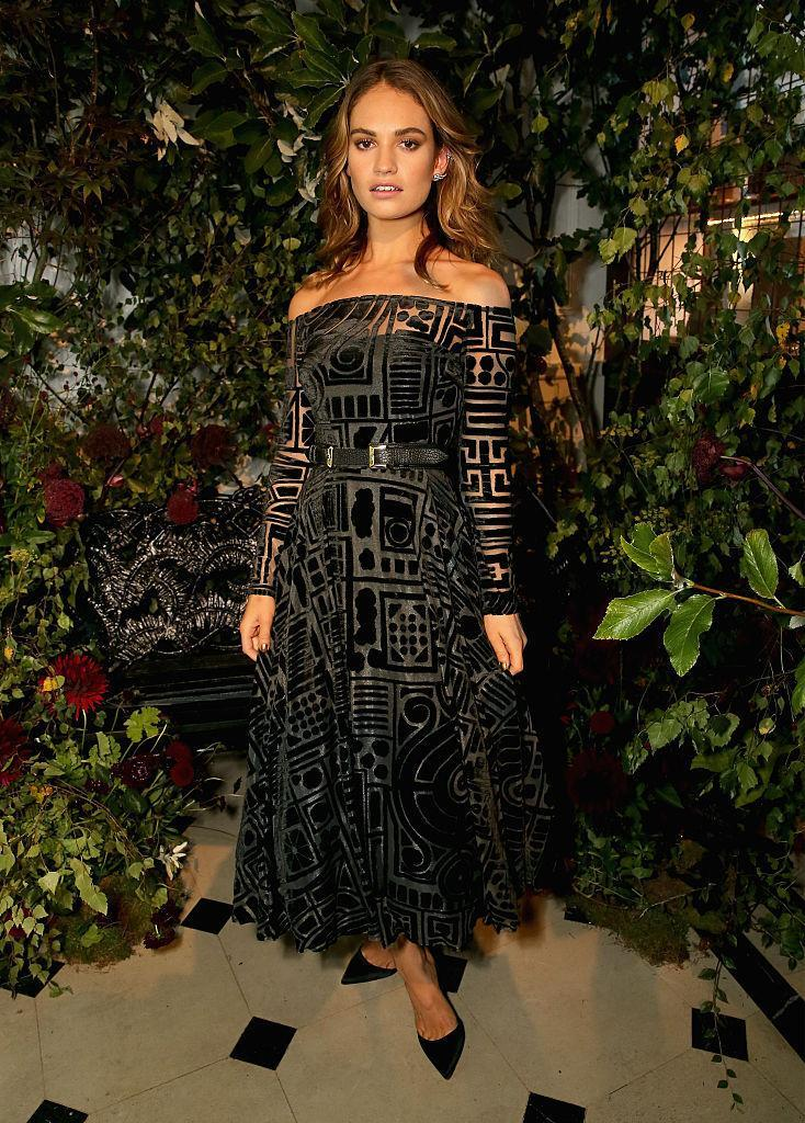 <p>Looking stunning in a sheer off-the-shoulder Burberry dress with intricate velvet overlay. <i>(Photo by David M. Benett/Getty Images for Burberry)</i><br></p>