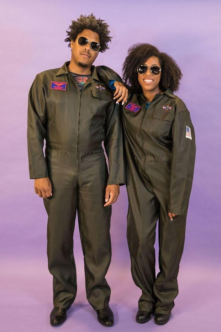 """<p>If you and your partner throw on some green jumpsuits and a pair of aviators, then you'll be ready to hit the sky as<em> Top Gun</em>'s Goose and Maverick.</p><p><a class=""""link rapid-noclick-resp"""" href=""""https://www.amazon.com/Costume-Costumes-Military-Jumpsuit-Halloween/dp/B07S3KMR5W?tag=syn-yahoo-20&ascsubtag=%5Bartid%7C10070.g.1923%5Bsrc%7Cyahoo-us"""" rel=""""nofollow noopener"""" target=""""_blank"""" data-ylk=""""slk:SHOP GREEN JUMPSUITS"""">SHOP GREEN JUMPSUITS</a></p>"""