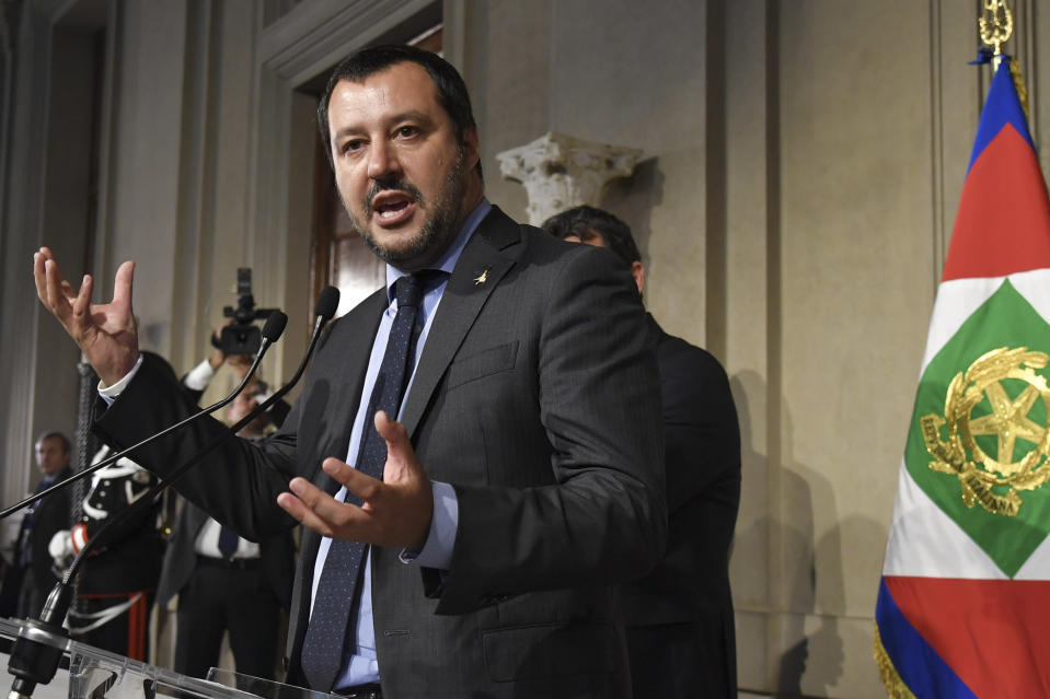 Deputy prime minister: Matteo Salvini, leader of Italy's far-right party 'Lega' (League). Photo: ANDREAS SOLARO/AFP/Getty Images