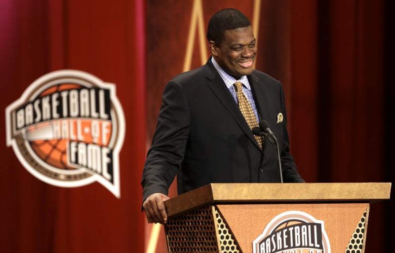 Inductee Bernard King speaks during the enshrinement ceremony for the 2013 class of the Basketball Hall of Fame, at Symphony Hall in Springfield, Mass., Sunday, Sept. 8, 2013. (AP Photo/Steven Senne)