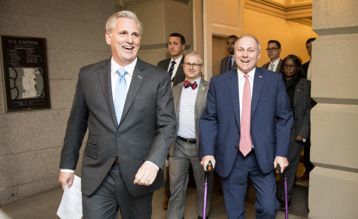 From left, House Majority Leader Kevin McCarthy, R-Calif., Chief Deputy Whip Patrick McHenry, R-N.C., and House Majority Whip Steve Scalise, R-La., arrive for the House Republican Conference meeting in the basement of the Capitol on April 11. (Photo: Bill Clark/CQ Roll Call/Getty Images)