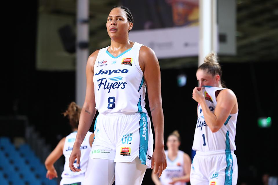 CAIRNS, AUSTRALIA - NOVEMBER 28: Liz Cambage's of the Flyers looks on during the round three WNBL match between the Townsville Fire and the Southside Flyers at Cairns Pop Up Arena, on November 28, 2020, in Cairns, Australia. (Photo by Chris Hyde/Getty Images)