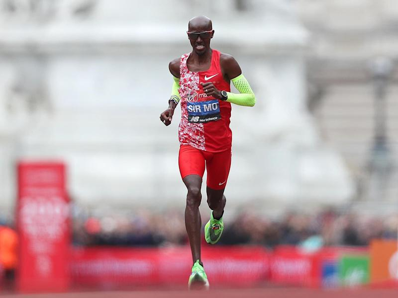Mo Farah approaches the finish line during the 2019 London Marathon: Getty