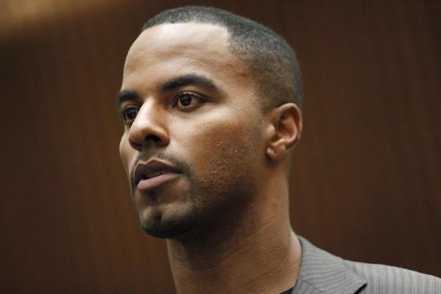 Former NFL safety Darren Sharper appears in Los Angles Superior Court, where he pleaded not guilty to charges of drugging and raping two women, Thursday, Feb. 20, 2014, in Los Angeles. Sharper's bail has been increased from $200,000 to $1 million. (AP Photo/Los Angeles Times, Bob Chamberlin, Pool)