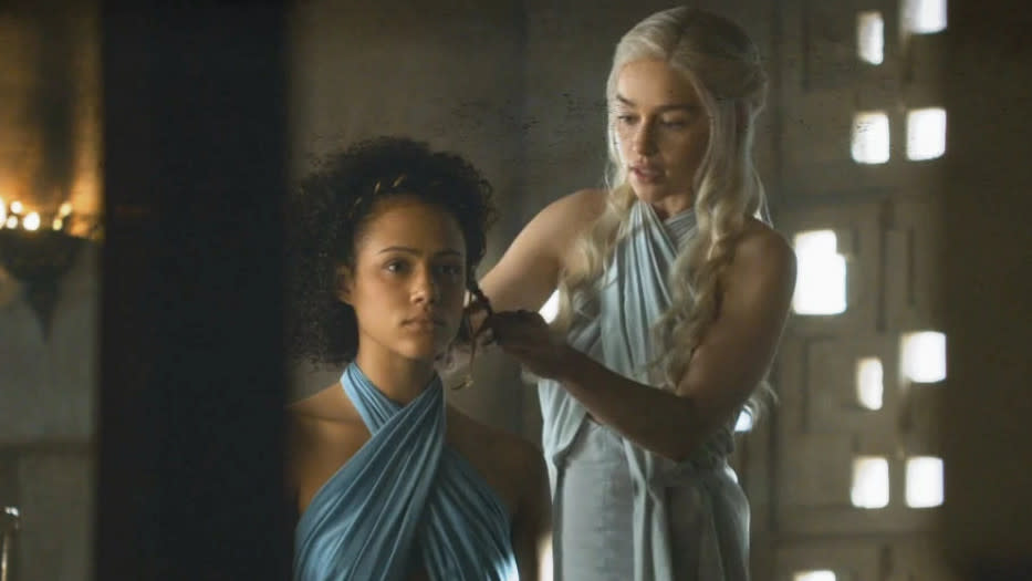 Nathalie Emmanuel as Missandei and Emilia Clarke as Daenerys in 'Game of Thrones'. (Credit: HBO)