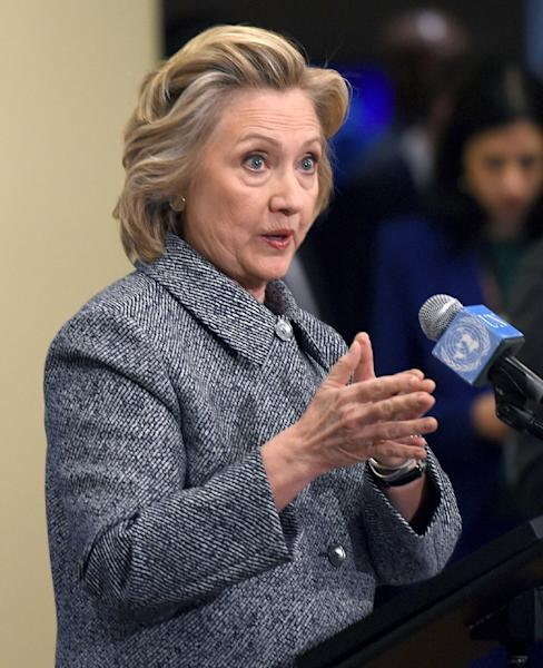 Hillary Clinton answers questions from reporters March 10, 2015 at the United Nations in New York (AFP Photo/Don Emmert)