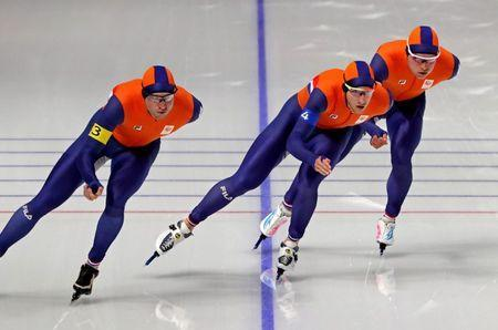 Feb 18, 2018; Pyeongchang, South Korea; Sven Kramer (NED), Jan Blokhuijsen (NED) and Koen Verweij (NED) in the mens speed skating team pursuit 8 laps quarterfinal during the Pyeongchang 2018 Olympic Winter Games at Gangneung Ice Arena. Mandatory Credit: Mark Hoffman-USA TODAY Sports