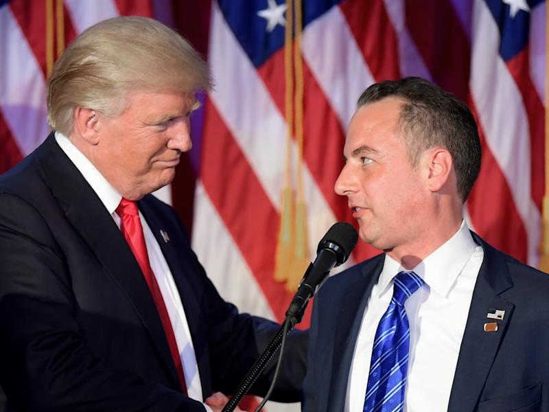 President Donald Trump and his former chief of staff Reince Priebus, who is likely to be interviewed as part of the Russia investigation: Jim Watson/AFP/Getty Images
