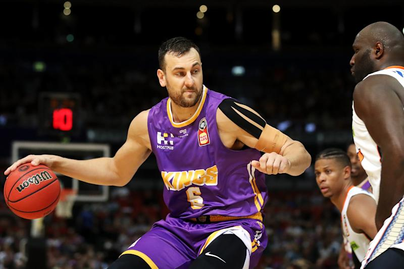 SYDNEY, AUSTRALIA - DECEMBER 08: Andrew Bogut of the Kings drives to the basket during the round 10 NBL match between the Sydney Kings and the Cairns Taipans at Qudos Bank Arena on December 08, 2019 in Sydney, Australia. (Photo by Mark Kolbe/Getty Images)