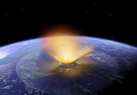 An artist's illustration of a massive asteroid impact on earth. Some single-celled organisms may be able to survive extreme impacts such as these, scientists say.