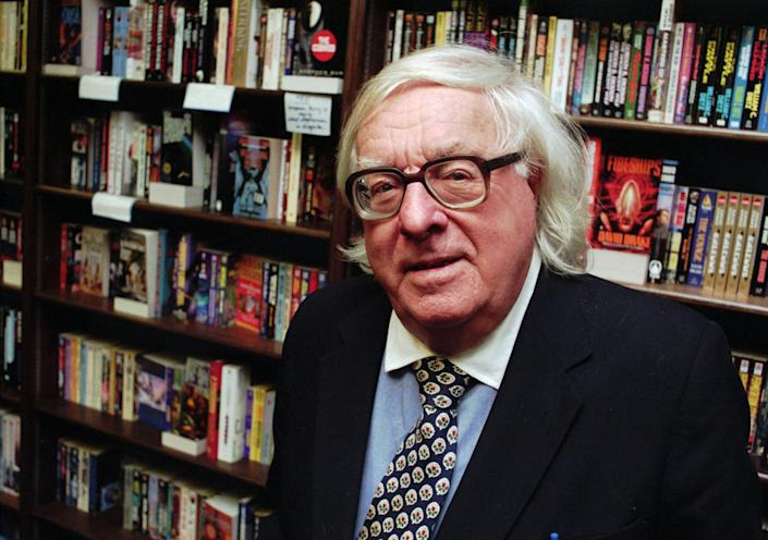 """This Jan. 29, 1997 file photo shows author Ray Bradbury at a signing for his book """"Quicker Than The Eye"""" in Cupertino, Calif. Bradbury, who wrote everything from science-fiction and mystery to humor, died Tuesday, June 5, 2012 in Southern California. He was 91. (AP Photo/Steve Castillo, file)"""
