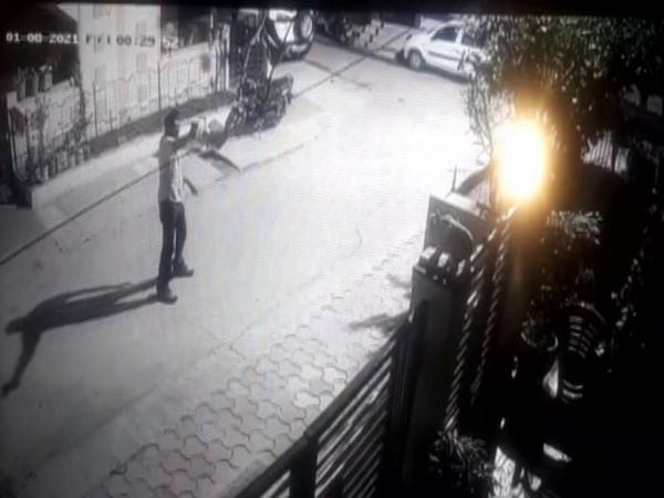 A visual from CCTV footage in which a man was seen firing at Indore resident Dilip Yadav's house. (Photo/ANI)