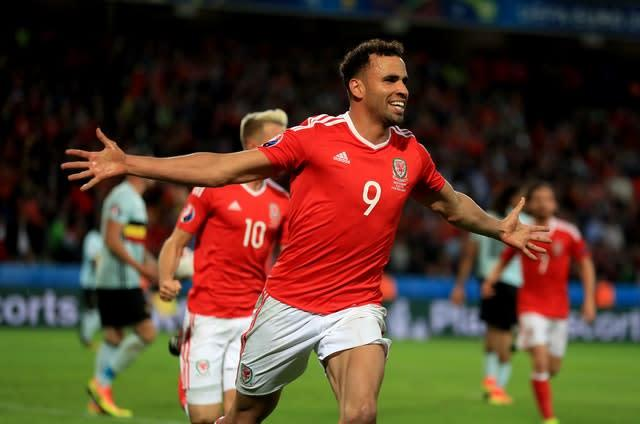 Hal Robson-Kanu celebrates after scoring in the Euro 2016 quarter-final victory against Belgium (Mike Egerton/PA)