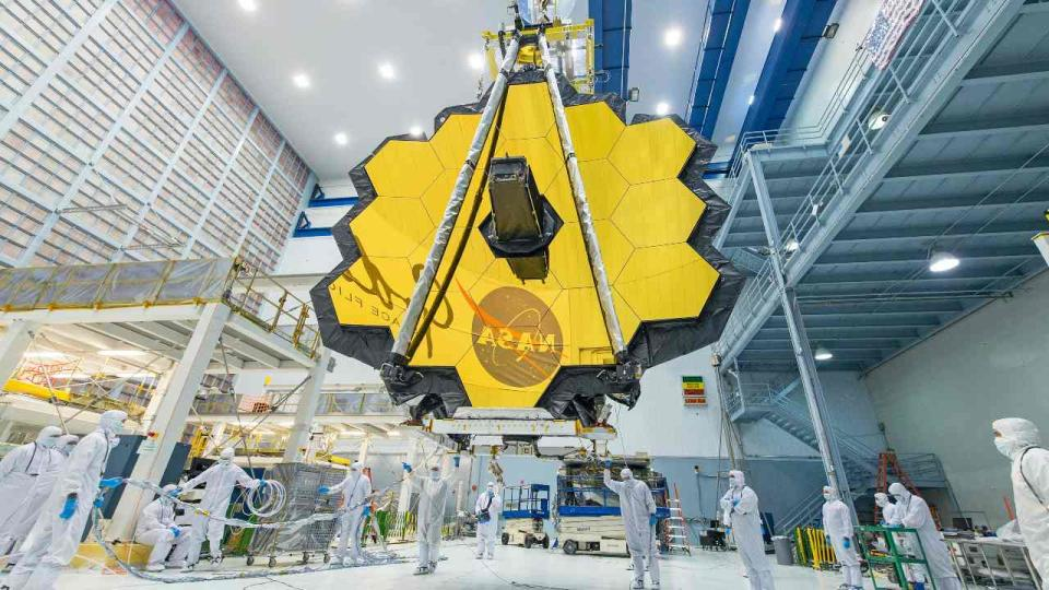 he James Webb Space Telescope is the biggest orbital telescope ever built and is scheduled to be launched into space on Dec. 18, 2021. NASA/Desiree Stover,