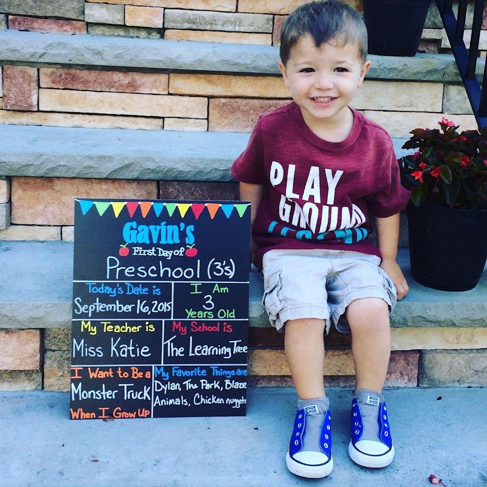 """<p>If your child is too excited to stand still, there are a couple of tricks you can try to get them to chill long enough to take a picture. """"Use the stairs — they can also create a great framing of the shot and add some interest showing the front door and steps,"""" says photographer <a href=""""https://www.irelandstudios.com/"""" rel=""""nofollow noopener"""" target=""""_blank"""" data-ylk=""""slk:Tim Ireland"""" class=""""link rapid-noclick-resp"""">Tim Ireland</a>. """"If you have nice, shaded light against a cool wall, have your child lean against the wall a little. This can calm the nerves."""" Stairs are also helpful for propping up any signs you might create!</p><p><strong>RELATED: </strong><a href=""""https://www.goodhousekeeping.com/life/parenting/g27787916/best-first-day-of-school-signs/"""" rel=""""nofollow noopener"""" target=""""_blank"""" data-ylk=""""slk:20 First-Day-of-School Signs to Help You Mark the Momentous Milestone"""" class=""""link rapid-noclick-resp"""">20 First-Day-of-School Signs to Help You Mark the Momentous Milestone</a></p>"""