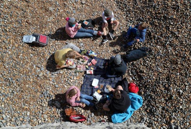People having a picnic on a beach