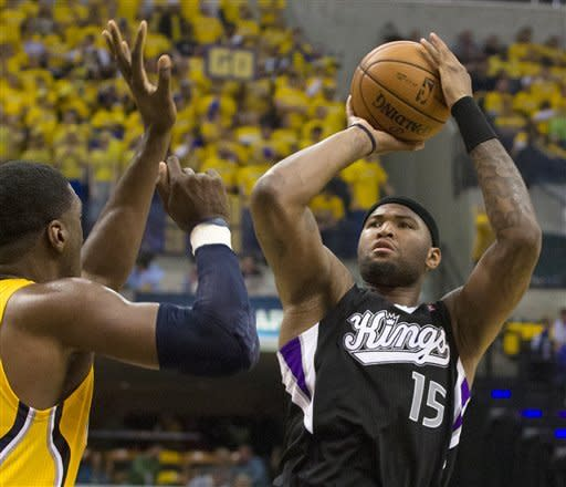 Sacramento King's DeMarcus Cousins goes up for a jumper during an NBA basketball game against the Indiana Pacers in Indianapolis on Saturday, Nov. 3, 2012. (AP Photo/Doug McSchooler)