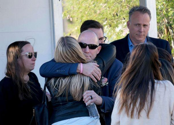 PHOTO: Bryan Muehlberger shares a hug following the memorial service for his daughter, Gracie Anne Muehlberger, 15, at Real Life Church, Nov. 23, 2019, in Valencia, Calif. (Dean Musgrove/The Orange County Register/SCNG via AP)