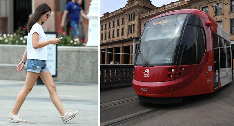 A pedestrian walks as she looks down at her phone (left) and a new Sydney train in recent testing (right).