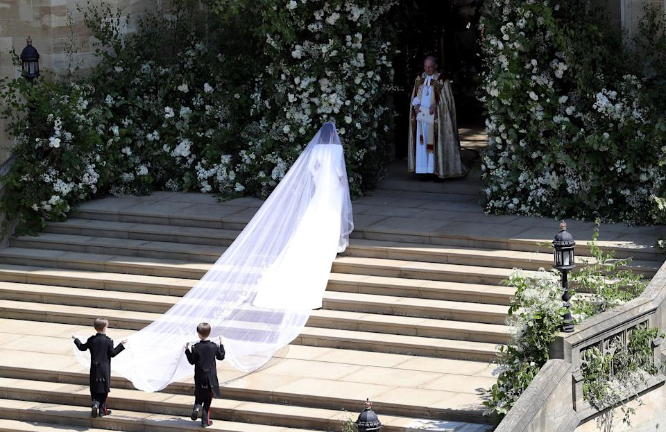 Meghan Markle donned an incredible veil to the history-making ceremony [Photo: Getty]