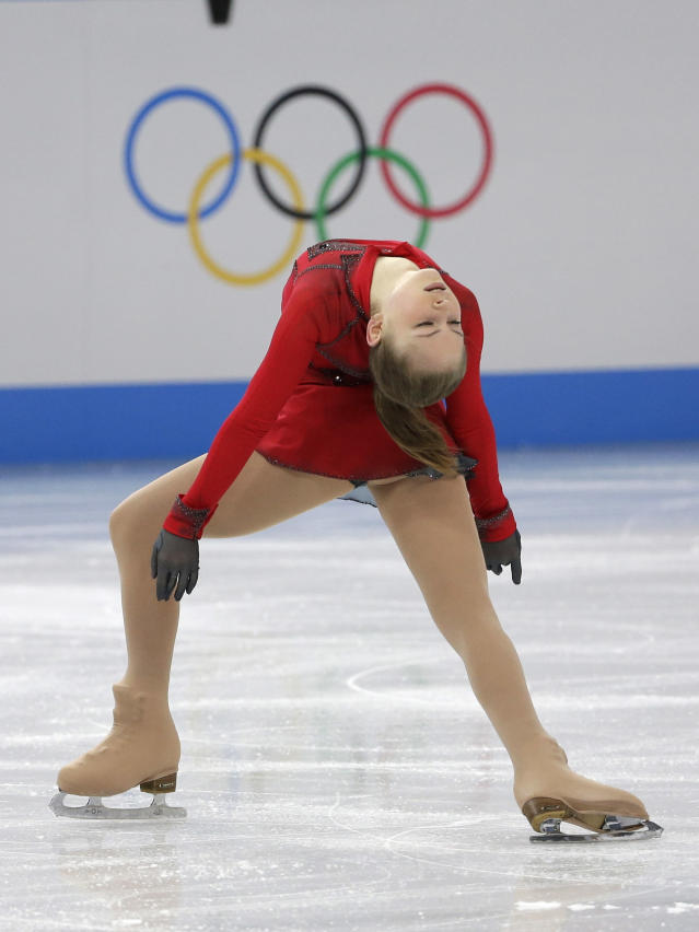 Julia Lipnitskaia of Russia competes in the women's team free skate figure skating competition at the Iceberg Skating Palace during the 2014 Winter Olympics, Sunday, Feb. 9, 2014, in Sochi, Russia. (AP Photo/David J. Phillip )