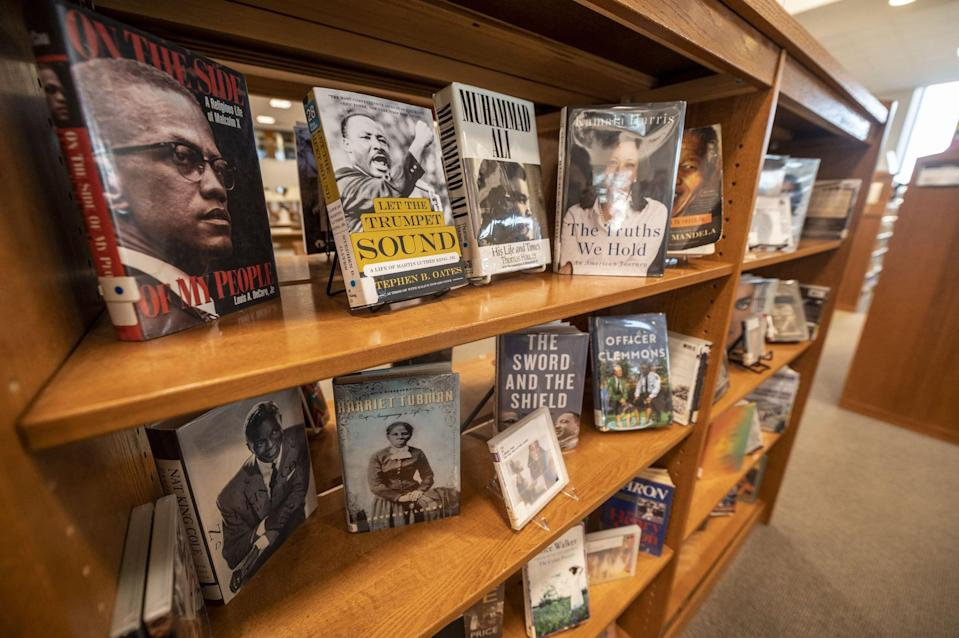 Elmont, N.Y.: Black history month display of books at the Elmont Memorial Library in Elmont, New York, on January 29, 2021. (Photo by Alejandra Villa Loarca/Newsday RM via Getty Images)