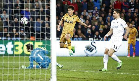 Britain Soccer Football - Swansea City v Tottenham Hotspur - Premier League - Liberty Stadium - 5/4/17 Tottenham's Son Heung-min scores their second goal Action Images via Reuters / Andrew Couldridge Livepic