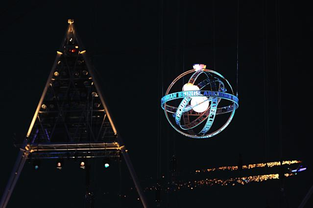 LONDON, ENGLAND - AUGUST 29: A sphere descends into the stadium during the Opening Ceremony of the London 2012 Paralympics at the Olympic Stadium on August 29, 2012 in London, England. (Photo by Clive Rose/Getty Images)