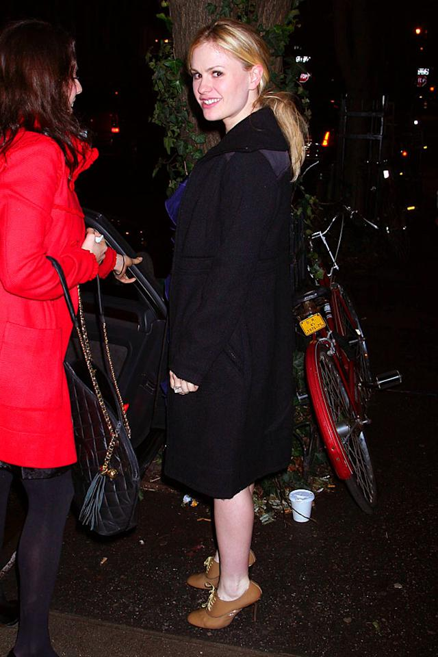 "Oscar winner Anna Paquin (""The Piano"") departs from the dining establishment in a frumpy overcoat and heinous heels. Demis Maryannakis/<a href=""http://www.splashnewsonline.com"" target=""new"">Splash News</a> - February 5, 2008"