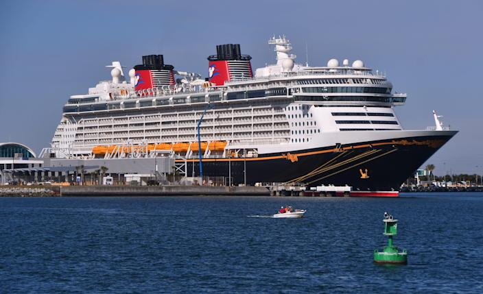 The Disney Dream stopped at Port Canaveral's  Cruise Terminal 10 on Friday, taking on fuel and other supplies. Disney Cruise Line does not plan to resume sailing with passengers until at least April.