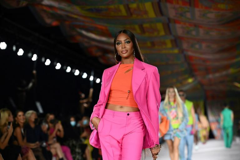 British model Naomi Campbell was one of those on the catwalk for the Versace show (AFP/Marco BERTORELLO)