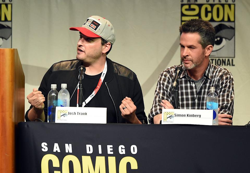 """SAN DIEGO, CA - JULY 11:  Director Josh Trank (L) and writer Simon Kinberg from """"Fantastic Four"""" speak onstage at the 20th Century FOX panel during Comic-Con International 2015 at the San Diego Convention Center on July 11, 2015 in San Diego, California.  (Photo by Kevin Winter/Getty Images)"""