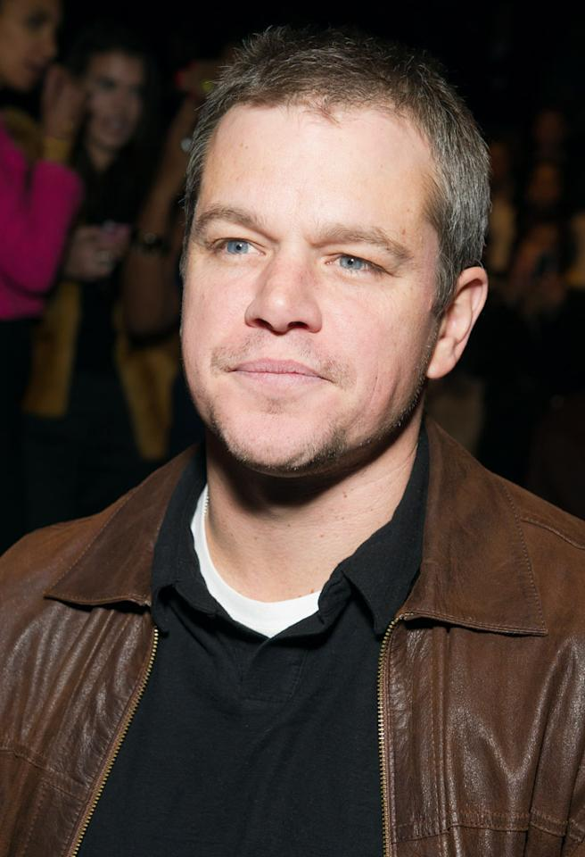 "Matt Damon, who burst onto the scene by winning an Oscar for the screenplay of his 1997 drama ""Good Will Hunting,"" is still as hot as ever! But now that he's 42, the father of four girls between   the ages of 2 and 14 is looking — how can we put this delicately? — more mature, thanks to his graying hair. ""I point out all of the gray and I say to my daughters, 'You did this and you did this   and you did this,'"" he recently joked to <a target=""_blank"" href=""http://stylenews.peoplestylewatch.com/2012/10/11/matt-damon-hair-going-gray/"">People</a>. ""They really think it's funny."" (2/14/2012)"