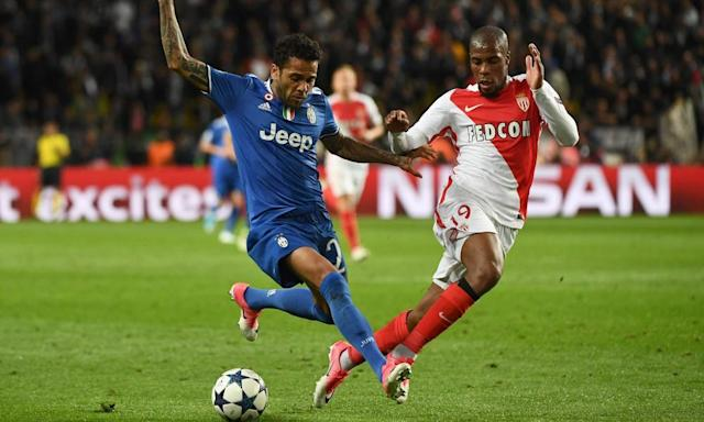 "<span class=""element-image__caption"">Juventus's Dani Alves, left, holds off Monaco's Djibril Sidibe during the Champions League semi-final first leg.</span> <span class=""element-image__credit"">Photograph: Boris Horvat/AFP/Getty Images</span>"