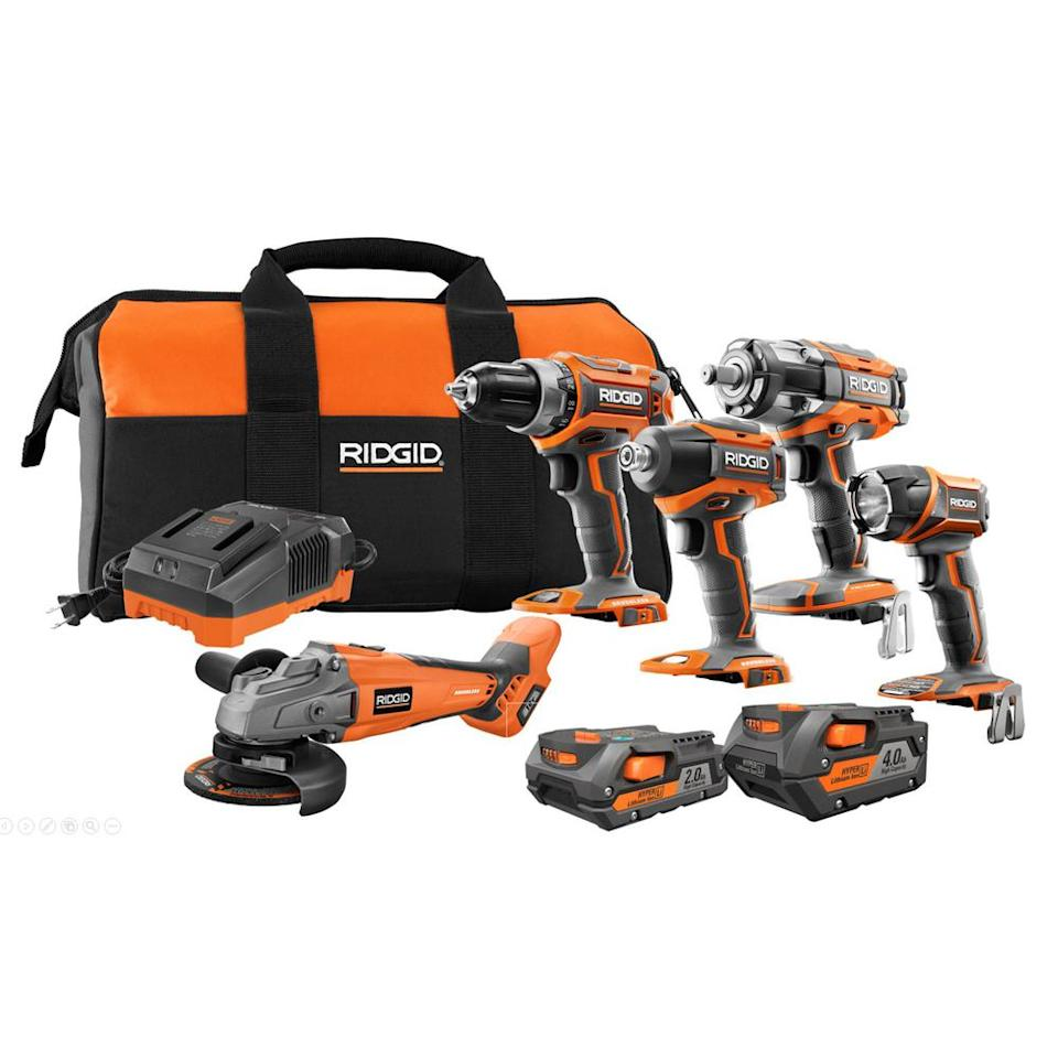 "<p><strong>RIDGID</strong></p><p>homedepot.com</p><p><a rel=""nofollow"" href=""https://www.homedepot.com/p/RIDGID-18-Volt-Lithium-Ion-Brushless-Cordless-5-Tool-Combo-Kit-with-1-4-0-Ah-Battery-1-2-0-Ah-Battery-Charger-and-Bag-R9633SBN/305658534"">Buy Now</a></p><p>Sale:<strong> $259</strong> (originally $499) </p><p>This 18-volt lithium-ion tool kit is brushless and cordless and features (1) 4.0 Ah battery, (1) 2.0 Ah battery, a charger and a carrying case to keep everything together.</p><p>The kit has a 4.8 out of 5 star rating with users citing the quality of the kit and the usefulness of having 2 different batteries at their disposal.</p><p>The best part? Once you register your purchase, you get free batteries and service FOR LIFE.<br></p>"
