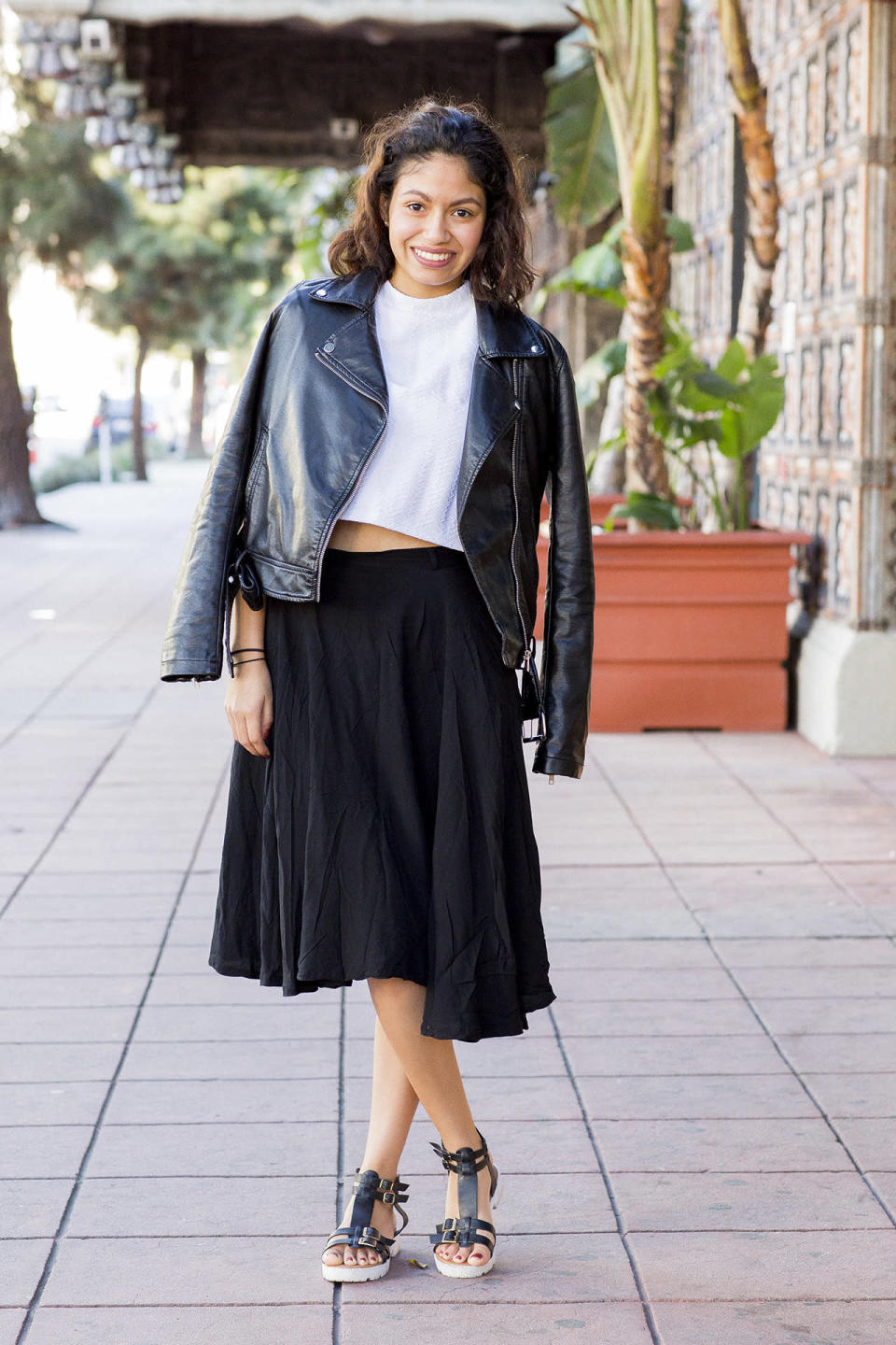 """<p><b>Yahoo Style:</b> How'd you hear about Hillsong?<br><b>Geraldine Duenas:</b> I heard about this church through a friend from work. I was going to another church, but when she found out I was Christian, she said, """"Oh, hey, check out my church."""" I've been going for a year now. It makes you feel like you're at home. Everyone's always trying to help everyone out.</p><p><b>What kind of church is this?<br></b>They welcome anyone, regardless of sexual orientation, race, background, income, backstory. I love the worship and singing.</p><p><b>What's your favorite song?<br></b>I forget the name, but it's about how you feel like heaven when your knees touch the ground to pray.</p><p><b>What do you picture when you picture God?<br></b>A father figure who loves everyone unconditionally.</p><p><b>So God's a man?<br></b>Yes.</p><p><b>What race is he?<br></b>I've been raised Catholic, so I've been stuck with, oh, he's light-skinned.</p><p><b>Is that how you see him?<br></b>I think so.</p><p><b>Are you a feminist?<br></b>Yes. I love strong, independent women.</p><p><b>OK. Do you dress special for church?<br></b>Only if I have time. This today took five minutes. I was thinking about it before I got out of bed.</p>"""