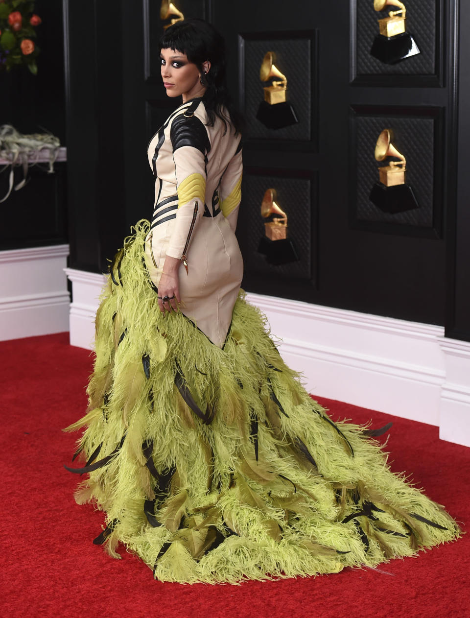Doja Cat arrives at the 63rd annual Grammy Awards at the Los Angeles Convention Center on Sunday, March 14, 2021. (Photo by Jordan Strauss/Invision/AP)