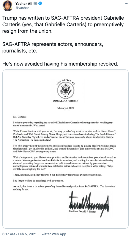 Trump's letter has been shared on social media. Photo: Twitter.