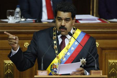 Venezuelan President Maduro addresses lawmakers during the annual state of the nation in Caracas