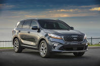 This photo provided by Kia shows the 2020 Kia Sorento, one of the only small SUVs with three rows of seating. A pleasant ride and comfortable interior are among its highlights, and 2020 Sorentos should come with a solid discount this Fourth of July weekend. (Courtesy of Kia Motors America via AP)