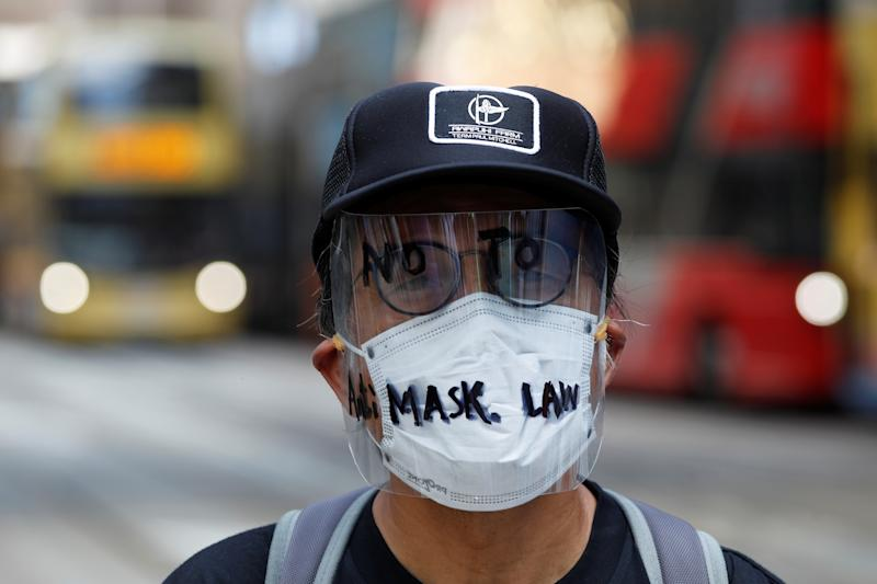 A masked anti-government protester is pictured in Hong Kong, China October 4, 2019. REUTERS/Tyrone Siu