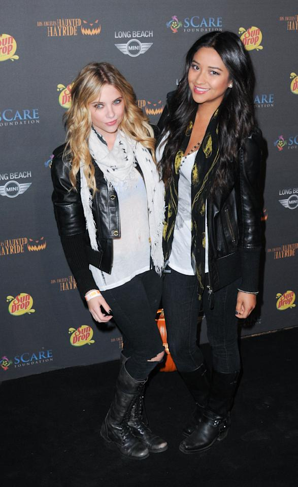 <p>Ashley Benson and Shay Mitchell arrive for the 3rd Annual Los Angeles Haunted Hayride VIP Premiere Night.</p>