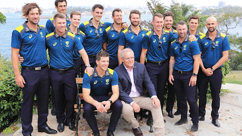 Scott Morrison, pictured here posing for photographs with Tim Paine and the Australian cricket team at Kirribili House.