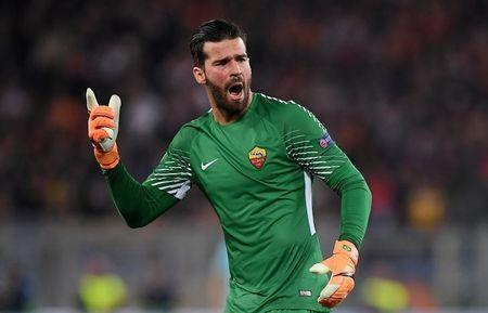 Roma's Alisson Becker reacts. REUTERS/Alberto Lingria/File Photo
