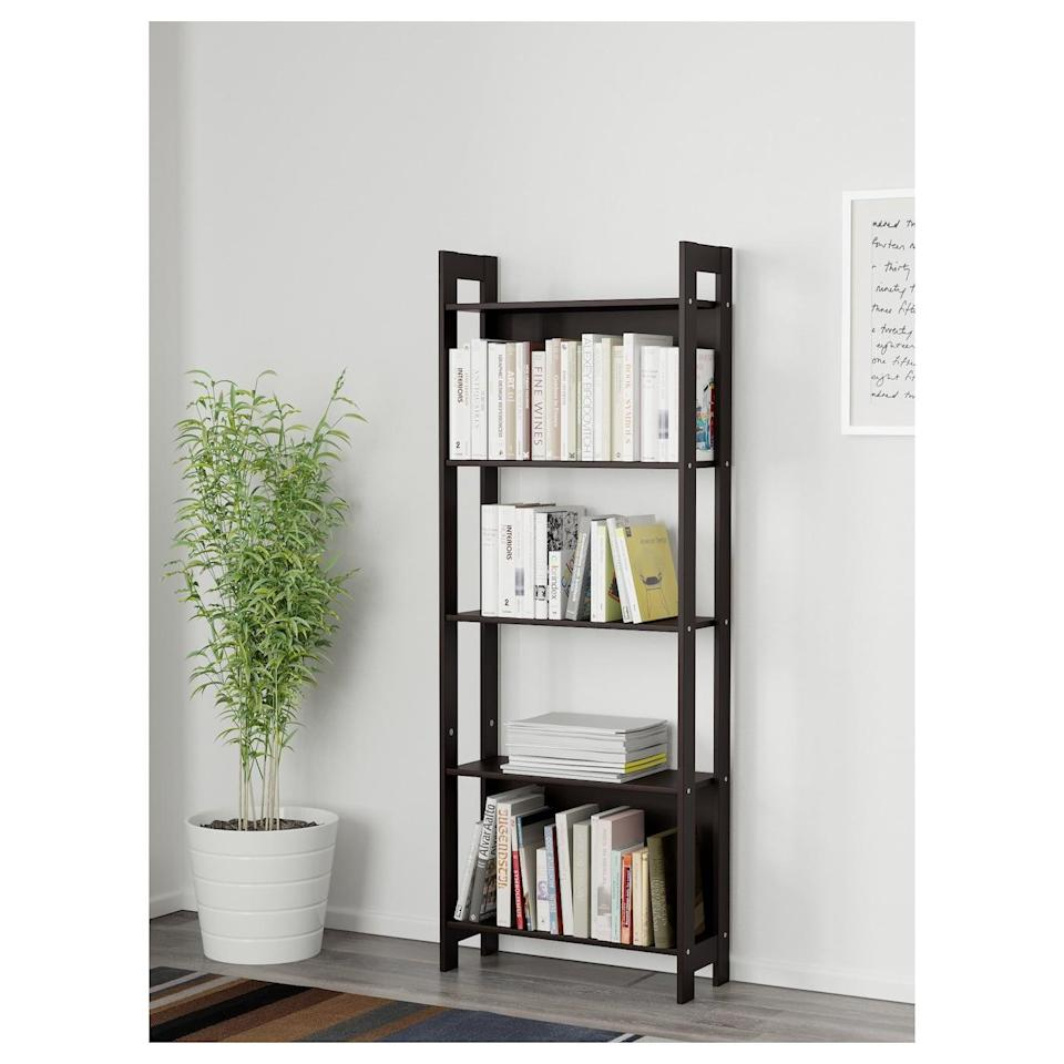 <p>The slim design of the <span>Lavia Bookcase</span> ($20) makes it easy to put anywhere. Keep houseplants, decor, and books on the long and handy shelves.</p>