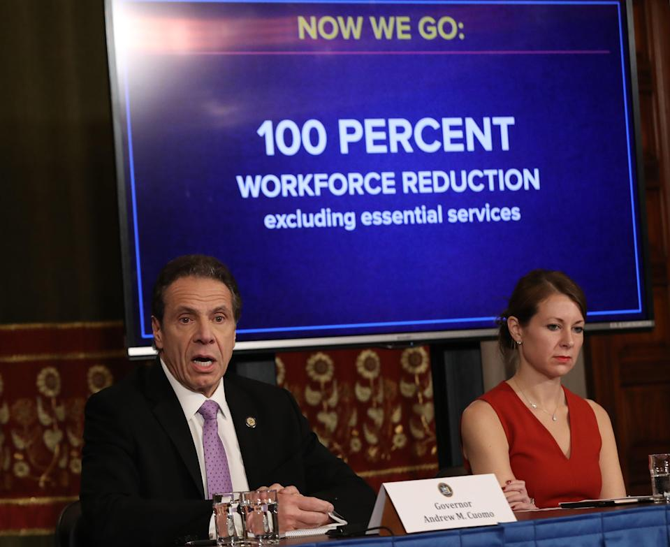 <p>File Image: New York Governor Andrew Cuomo (L) speaks during his daily news conference with Secretary to the Governor Melissa DeRosa (R) on 20 March 2020 in New York City.</p> (Getty Images)