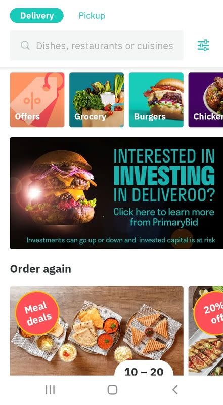 Screenshot of advertisement for Deliveroo's customers to take part in the company's IPO