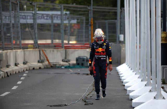 Red Bull driver Max Verstappen crashed out of the Azerbaijan GP but saw rival Lewis Hamilton of Mercedes follow suit to remain top of the Formula One drivers' standings