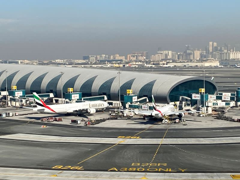 FILE PHOTO: Emirates planes are seen on the tarmac in a general view of Dubai International Airport in Dubai, United Arab Emirates