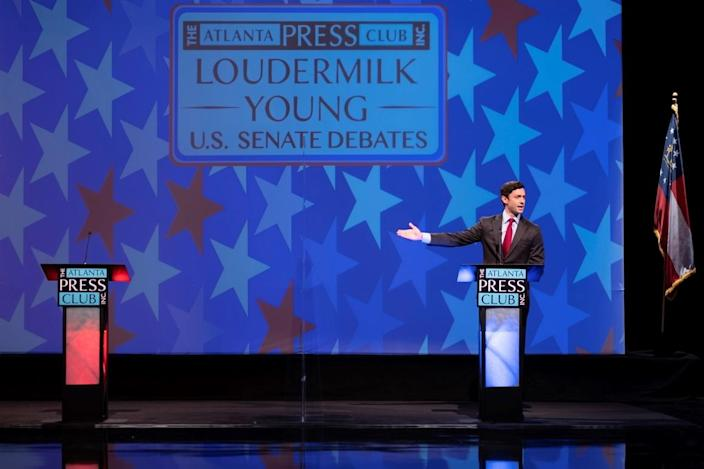 Democratic challenger Jon Ossoff speaks during a debate for U.S. Senate on Dec. 6 in Atlanta. Sen. David Perdue declined to take part.